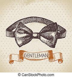 bosquejo, hombres, ilustración, mano, caballeros, accessory., dibujado