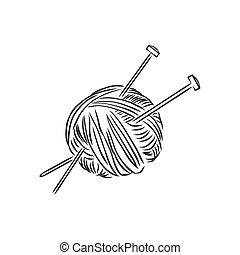 bosquejo, ilustración, vector, hilo, knitting., pelota