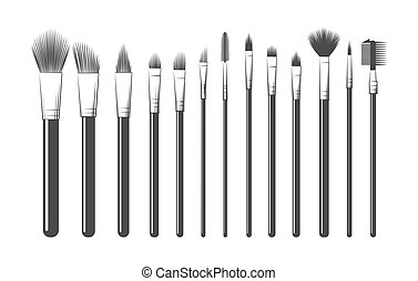 bosquejo, kit del maquillaje, cepillos
