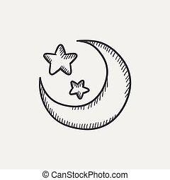 bosquejo, luna, estrellas, icon.
