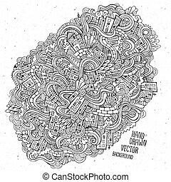 bosquejo, mano, casas, plano de fondo, doodles, dibujado
