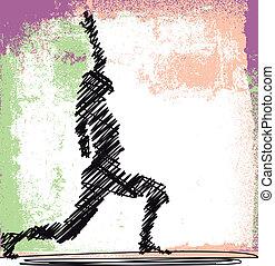 bosquejo, mujer, resumen, yoga., meditar, ilustración, vector
