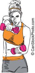 bosquejo, mujer, trabajando, gimnasio, ilustración, vector, dumbbell, afuera, weights.