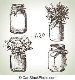 bosquejo, rústico, set., mano, diseño, dibujado, tarros, envase, albañil