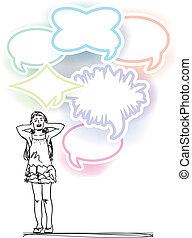 bosquejo, ruido, cubierta, ilustración, vector, niña, balloons., fuerte, orejas