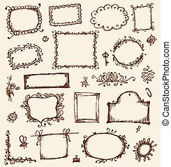 bosquejo, su, marcos, diseño, mano, dibujo