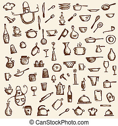 bosquejo, utensilios, su, diseño, dibujo, cocina
