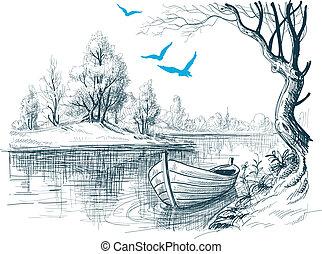 bosquejo, /, vector, delta, bote de río