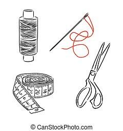 bosquejo, vector, herramientas, ilustración, kit, costura, garabato