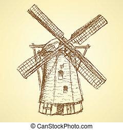 bosquejo, vendimia, holand, vector, plano de fondo, molino de viento