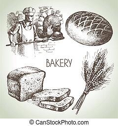 bosquejo, vendimia, set., mano, panadería, ilustraciones, dibujado, icono