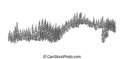 Bosques verdes o bosques silvestres con siluetas de árboles coníferos creciendo en colinas. Un elemento decorativo de monocromo natural dibujado a mano aislado en el fondo blanco. Ilustración de vectores.