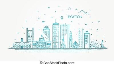 boston, línea, famoso, illustration., vector, cityscape, lineal, contorno, arquitectura, señales