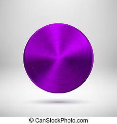 Botón abstracto púrpura con textura de metal
