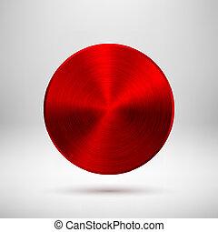 Botón abstracto rojo con textura metálica