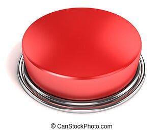 botón, aislado, rojo
