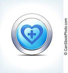 Botón Azul Hart más icono vector