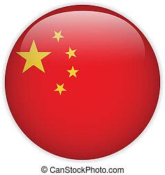 botón, bandera de china, brillante