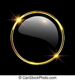 botón, brillante, oro, 3d