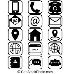 botón, caricatura, email, plano, o, dirección, blanco, nosotros, aislado, información, número, estilo, icon., vector, plano de fondo, célula, contactos, contacto, usuario, teléfono, ilustración, information., address-book