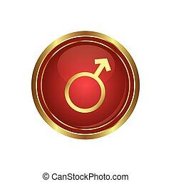 Botón con símbolo masculino