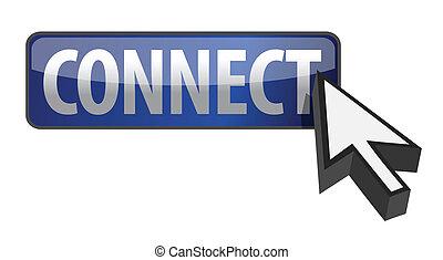 botón, conectar, ilustración