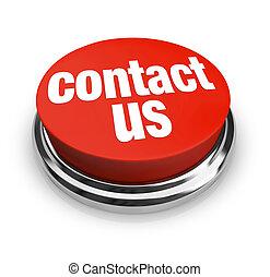 botón, contacto, -, nosotros, rojo