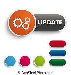 Botón de actualización, pía naranja negra