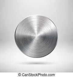 Botón de círculo abstracto con textura de metal