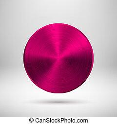 Botón de círculo abstracto Magenta con textura de metal