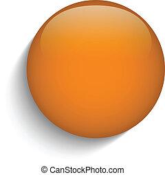 Botón de círculo de cristal naranja en fondo naranja