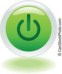 botón, de, encendido, potencia, o