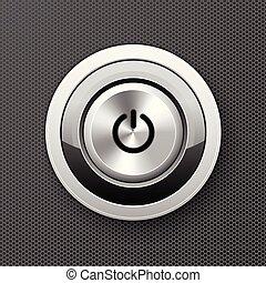 botón de la energía, arrancador, botón, empujón, -, metal, lanzamiento, icono, off-on, perilla