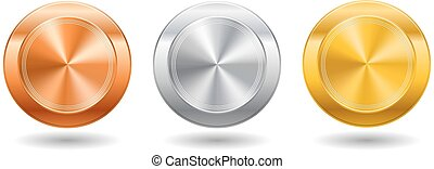 Botón de metal realista con procesamiento circular. Ilustración de vectores