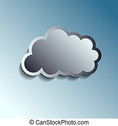 Botón de metal realista, icono de nube. Ilustración de vectores.