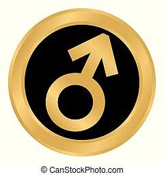 Botón de símbolo masculino.