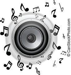 Botón de vidrio con notas musicales