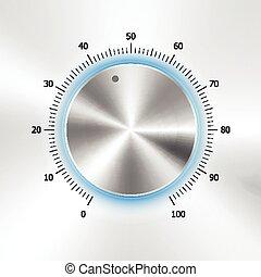 Botón de volumen con textura de metal