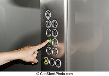 botón empujar, elevador