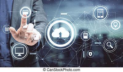 botón, hombre de negocios, datos, servicio, almacenamiento, pantalla del tacto, concepto, nube, empujones, iconos