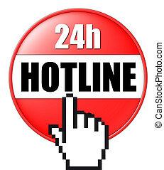 botón, hotline, 3d