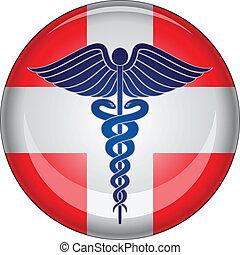Botón médico de primeros auxilios de Caduceus