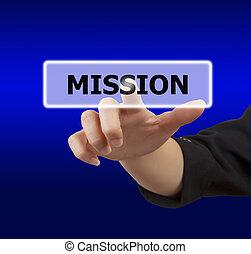 botón, mujer, conmovedor, misión, mano
