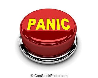 botón, parada, empujón, pánico, rojo, 3d