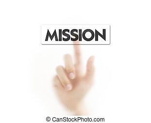 botón, planchado, dedo, misión