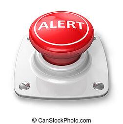 botón, rojo, alarma