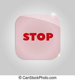 Botón rojo cristal