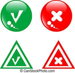 botón, rojo verde, aceptar, rechazo