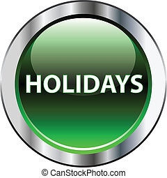 Botón verde de vacaciones en blanco