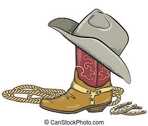 Bota de vaquero con sombrero occidental aislada en blanco